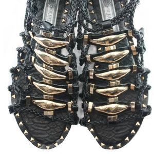 IVY KIRZHNER BLACK LEATHER GLADIATOR SANDALS 9